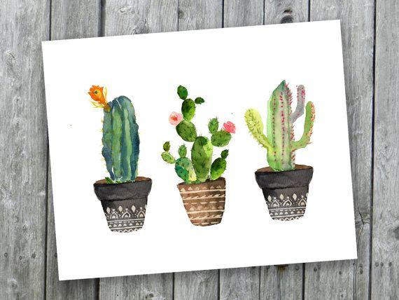 Art de cactus impression   Cactus aquarelle   Cactus aquarelle peinte à la main   décor chaleureux sticker imprimable