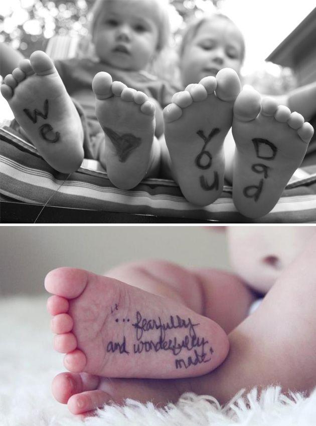 Escribe mensajes en los pies y fotografíalos