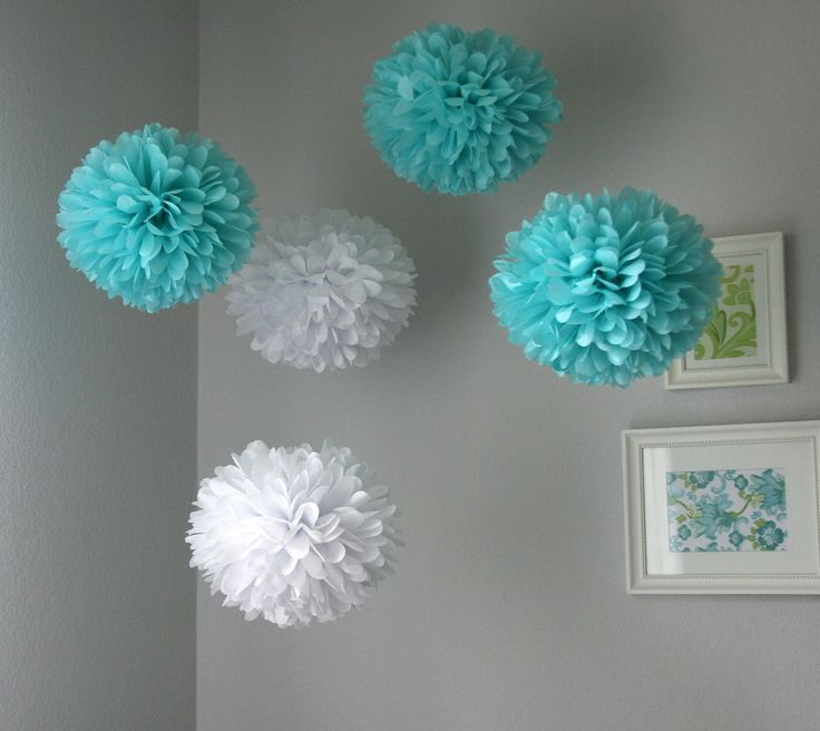Tiffany .. Tissue Paper Poms / Wedding / Birthday / Baby Shower / Bridal Shower / Party Decoration / DIY - set of 10