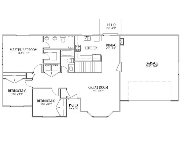 Simple Rambler House Plans With Three Bedrooms | 1271 | Salt City Home  Designs