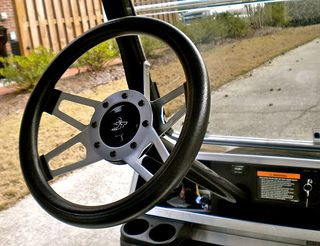 Add a new golf cart steering wheel for an easy way to customize your golf cart. Click on the picture for step by step instructions.