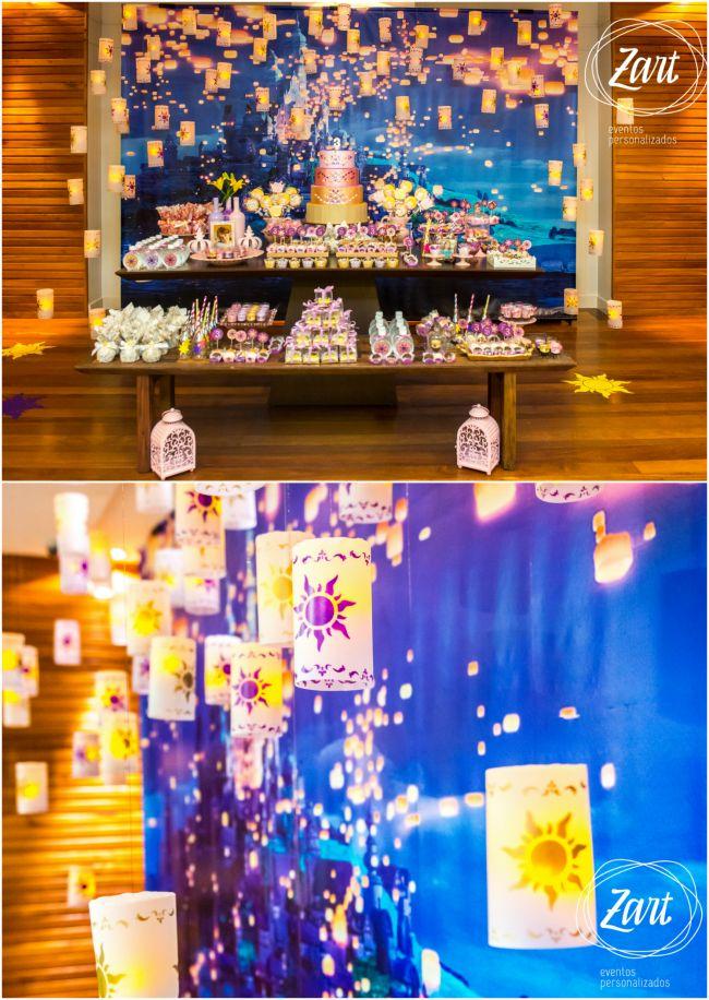 Decoração   Festa com o tema Rapunzel (Enrolados) - Beleza Mista