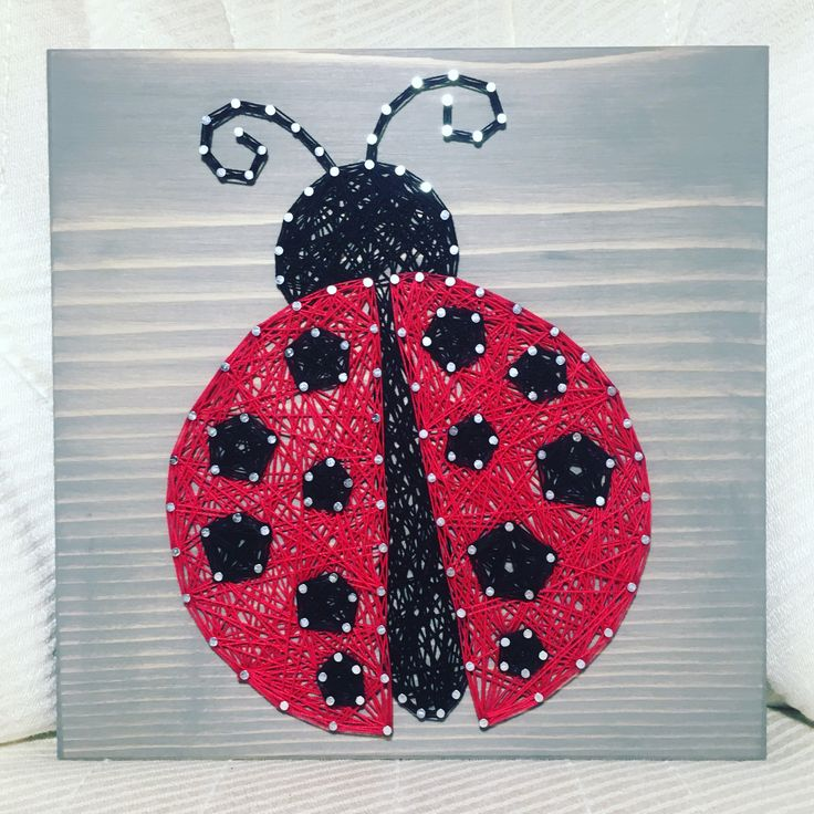 Ladybug String Art, Insect, Bug- order from KiwiStrings on Etsy! www.kiwistrings.etsy.com