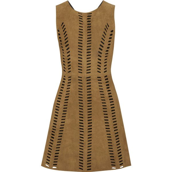Maje Rigolette perforated suede mini dress ($180) ❤ liked on Polyvore featuring dresses, vestidos, maje, short dress, suede, brown, night out dresses, perforated dress, going out dresses and brown dress