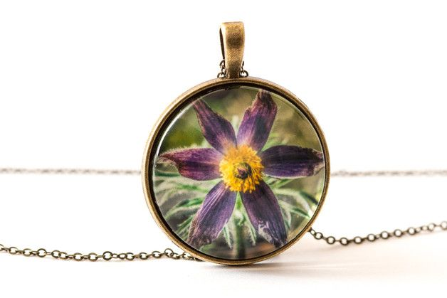 Naszyjnik z sasanką / Pulsatilla necklace - Art-Of-Nature