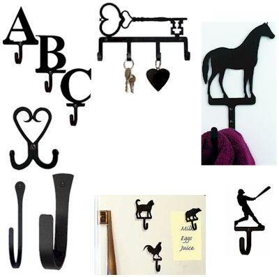 Wrought iron Key Holders, Double Hooks, Decorative Large, Small and Mini-Hooks, Magnetic Hooks and A to Z Letter Hooks.
