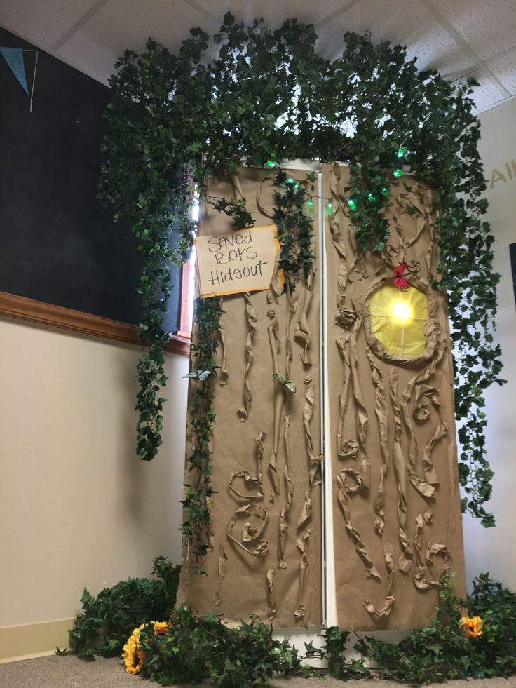 Turn classroom cabinet into a treehouse! Lost boys hideout Peter Pan theme