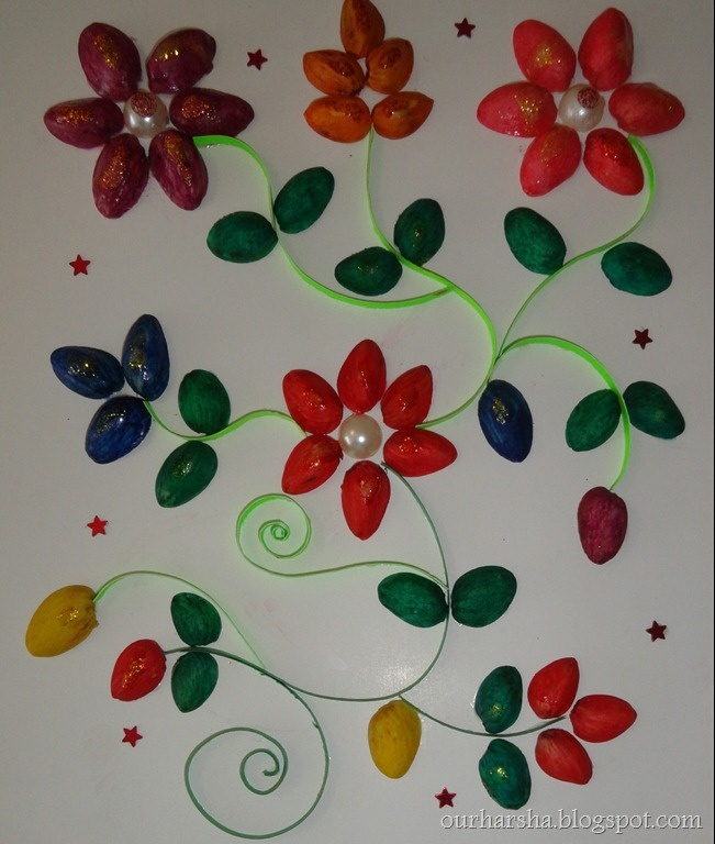 craft ideas with pista shells pista shell flowers my arts and crafts 6340