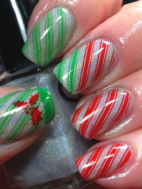 Stamped using BM-423 using red and green Konad special polish.