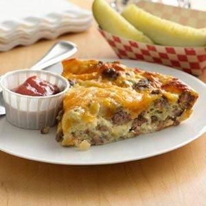 Impossibly Easy Cheeseburger Pie  http://www.tasteofhome.com/recipes/impossibly-easy-cheeseburger-pie