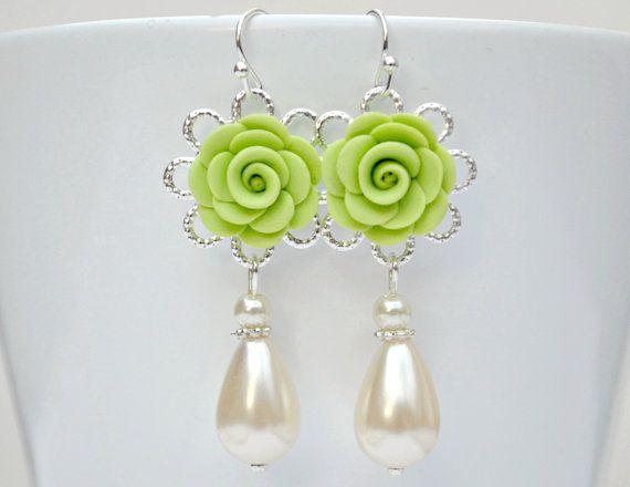 Flower dangle earrings pistachio green by ArtemisBridalJewelry