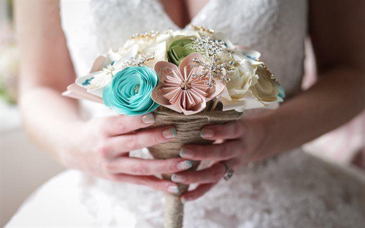 Scarica sfondi di nozze, abiti da sposa di carta bouquet, fiori di carta, sposa