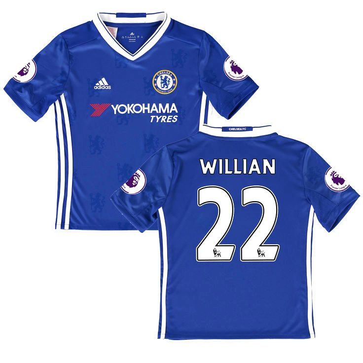 Youth adidas Willian Borges da Silva Blue Chelsea 2016/17 Replica EPL Badge Home Jersey - $94.99