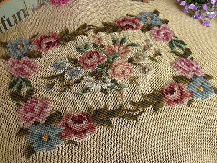 "36"" Vintage Preworked Needlepoint Canvas 20K PETIT POINT Pink Rose French 
