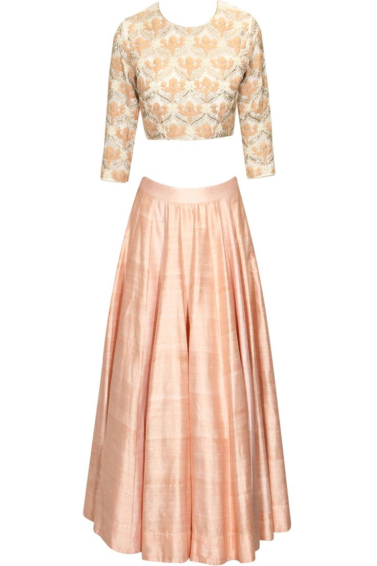 Peach floral dori embroidered jaal pattern lehenga set available only at Pernia's Pop Up Shop..#perniaspopupshop #shopnow #clothing#festive #newcollection #ZORAYA#happyshopping