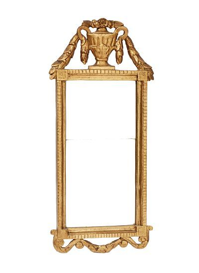 MIRROR  Gustavian. Gold Painted richly shaped framework, with urn and guirlandere  in the top. Dual mirror glass. The end of the 1700s.  HEIGHT 90.00 CMLENGTH 41.00 CM