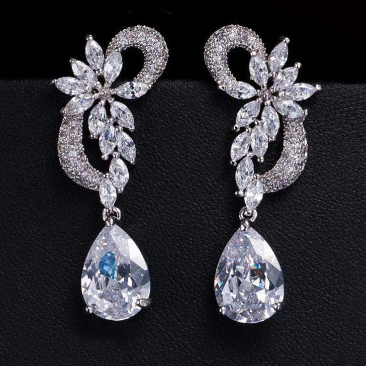 Elegant Cubic Zirconia Pave Bridal Long Earrings