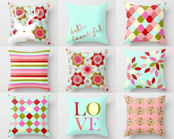 Throw Pillow Covers Girls Room Pillows Teen Room by HLBhomedesigns