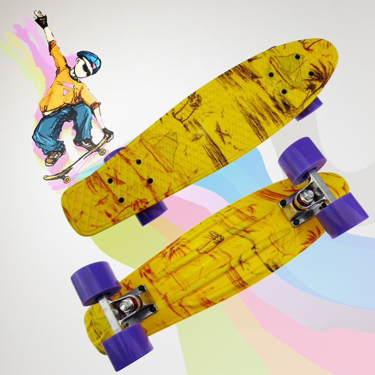 "2016 New Children's scooter Space Graphic Printed Mini Cruiser Plastic Skateboard 22"" X 6"" Retro Longboard Skate Long Board CL30 #Affiliate"