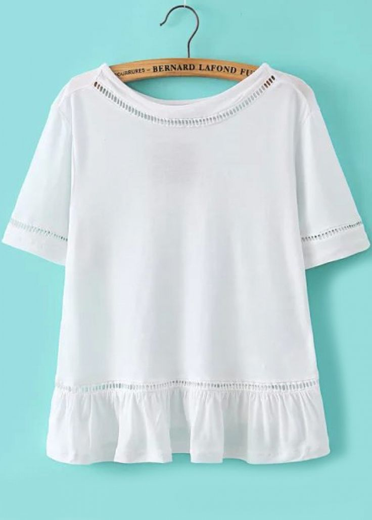 Peplum Hem Hollow White T-shirt