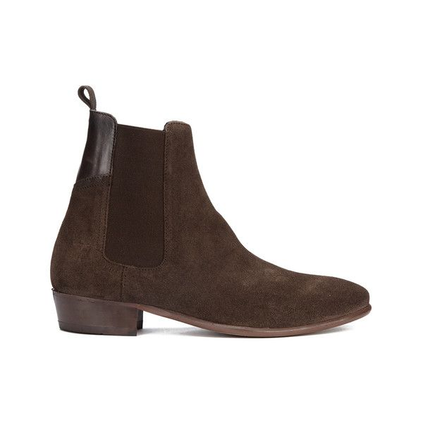 H Shoes by Hudson Men's Watts Suede Chelsea Boots ($175) ❤ liked on Polyvore featuring men's fashion, men's shoes, men's boots, brown, mens cuban heel boots, mens brown shoes, mens brown suede shoes, mens cuban heel shoes and mens suede boots