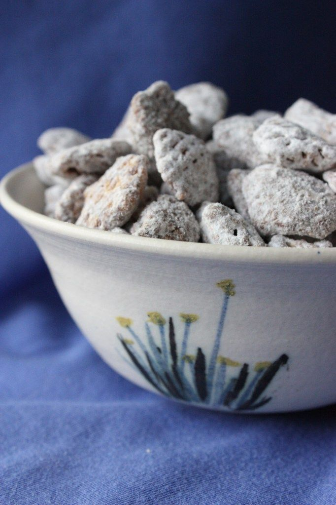 Puppy Chow. 9 Cups Chex or Crispix cereal, 1/2 C peanut butter, 1 C choc chips, 1 1/2 C powdered sugar.  Melt p. butter & choc chips in micro. Pour over cereal & mix.  Pour into lg zip lock bag add p. sugar & shake.  Enjoy :-)