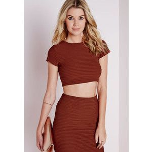 Missguided Capped Sleeve Ripple Crop Top