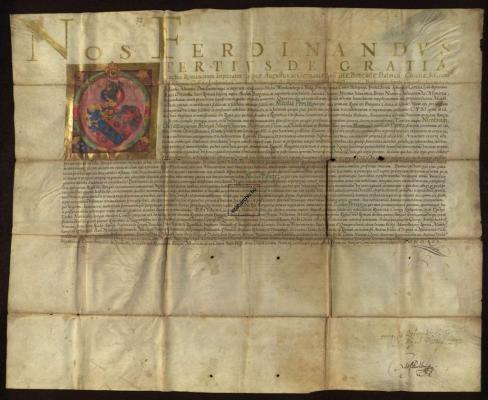 1651 III. Ferdinánd magyar király címeres nemesi levele Pente Miklósnak Bécs, 1651. augusztus 18.