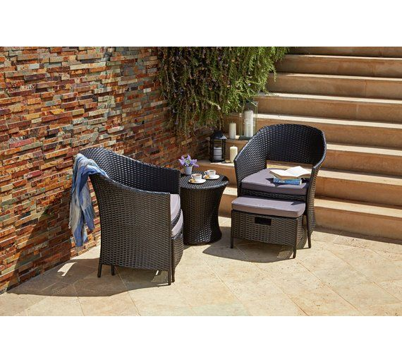 Buy HOME Rattan Effect 2 Seater Egg Set with Stools at Argos.co.uk - Your Online Shop for Garden table and chair sets, Garden furniture, Home and garden.