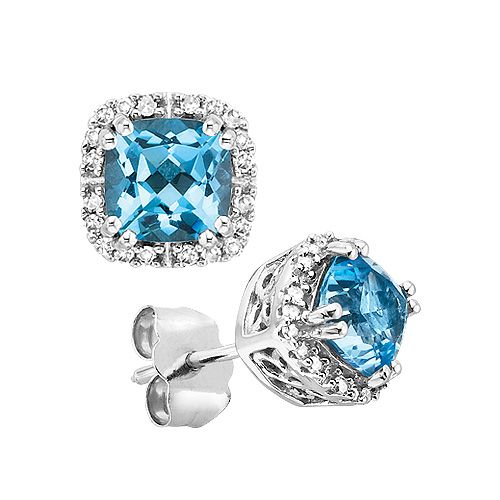 Fred Meyer Jewelers | Blue Topaz and Diamond Birthstone Earrings