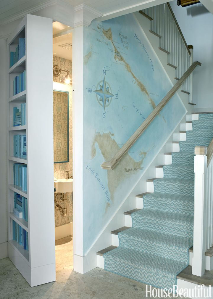 Hidden powder room in Bahamas beach house designed by Marshall Watson Interiors {featured on House of Turquoise}