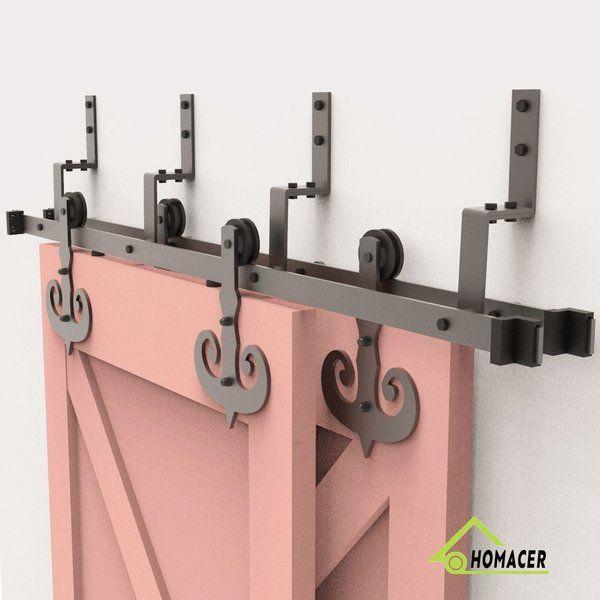 Homacer Mustache Standard Double Barn Door Hardware Kit Wayfair Sliding Barn Door Hardware Barn Door Hardware Bypass Barn Door Hardware