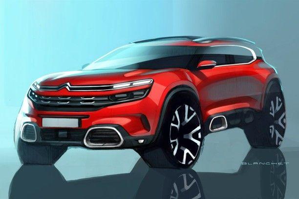Citroën C5 Aircross dessin design vue avant couleur rouge