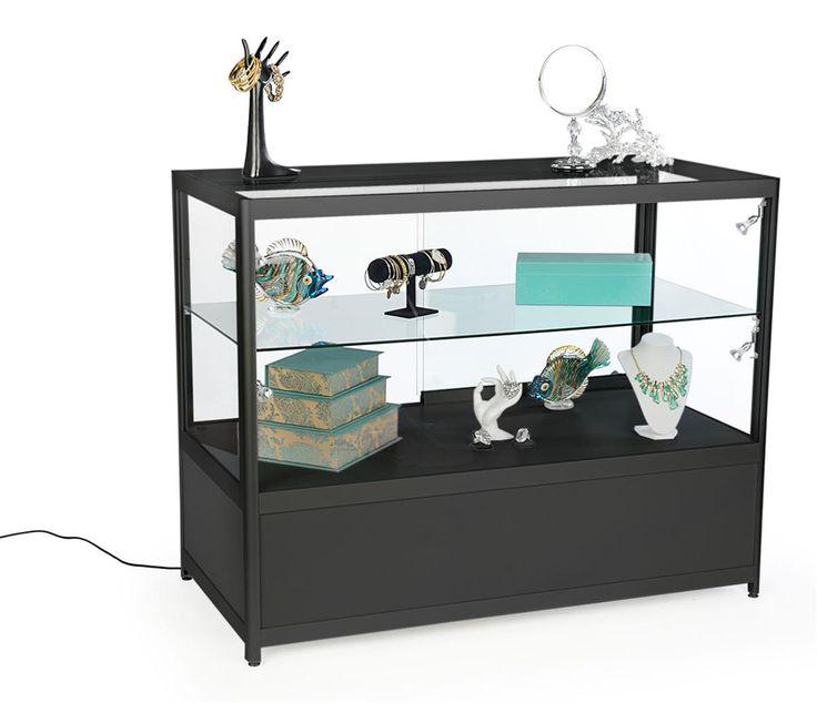 """48"""" Retail Display Case w/Cabinet, Side Lights, Slide Doors, Unassembled - Black"""