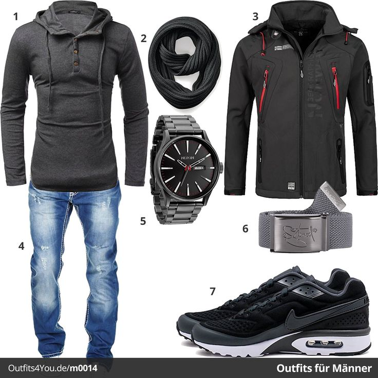 Sportlicher Look für Männer in Schwarz & Grau. Nixon Uhr, Nike Air Max Sneaker, Jacke von Geographical Norway, Merish Jeans, Schal und Gürtel.