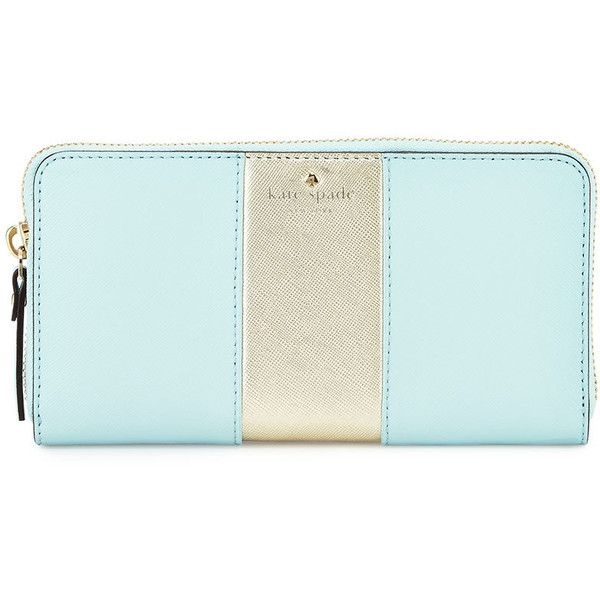 kate spade new york cedar street lacey racing-stripe wallet ($140) ❤ liked on Polyvore featuring bags, wallets, purses, striped bag, zip around wallet, metallic bag, kate spade wallet and stripe bag