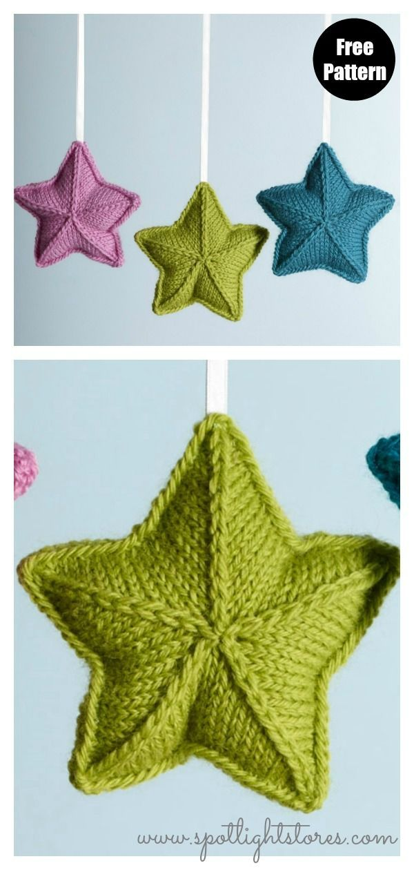 3d Star Ornament Free Knitting Pattern Horgolas