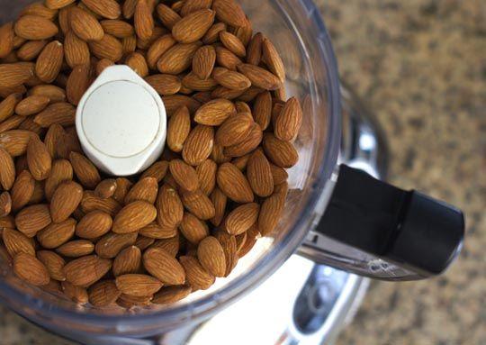almonds in food processor