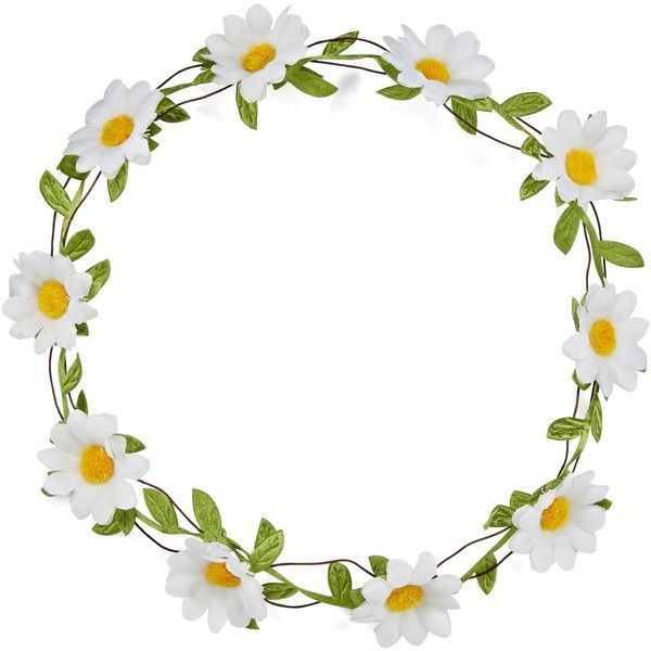 Carole Daisy Hair Crown ($11) ❤ liked on Polyvore featuring accessories, hair accessories, hair, flower crowns, headbands, crown headband, head wrap headband, bohemian hair accessories, daisy headband and garland headband