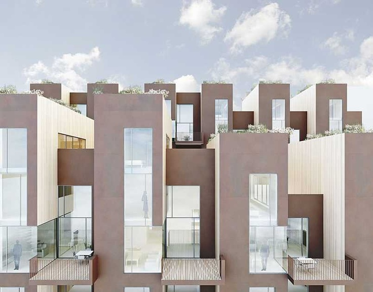 Sustainable Row Houses Architecture House Residential Building Design Town House Architecture