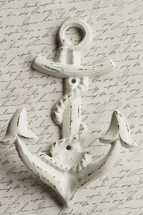 Anchor Wall Hook, Cast Iron, Distressed White, Shabby Chic For The Upstairs  Bathroom