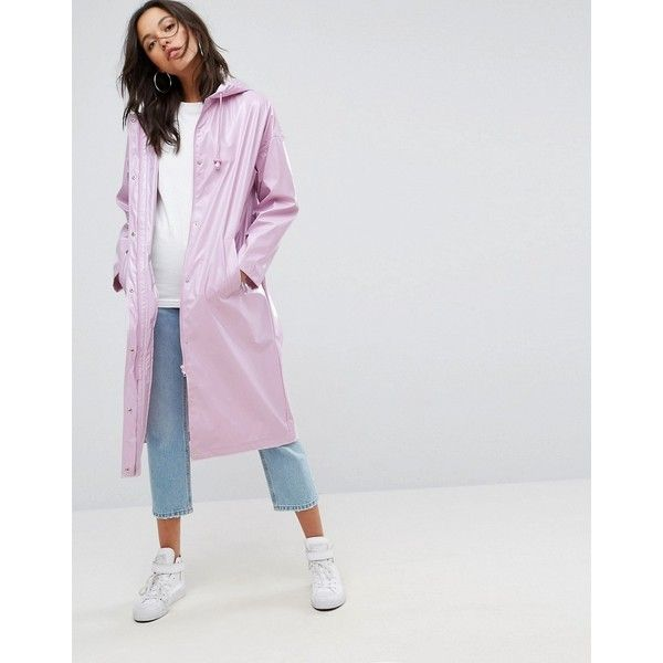 ASOS Vinyl Maxi Rain Trench Coat (120 CAD) ❤ liked on Polyvore featuring outerwear, coats, purple, water resistant coat, rain trench coat, vinyl trench coat, purple raincoat and trench raincoat
