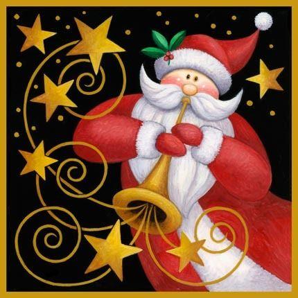 Santa & Stars Stone Coaster - Set of Four