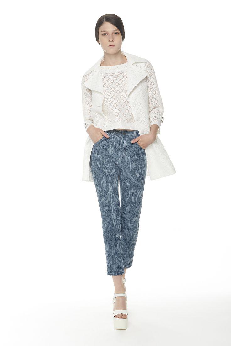 #ERAKLE #SS16 white lace long jacket, white lace top & denim trousers
