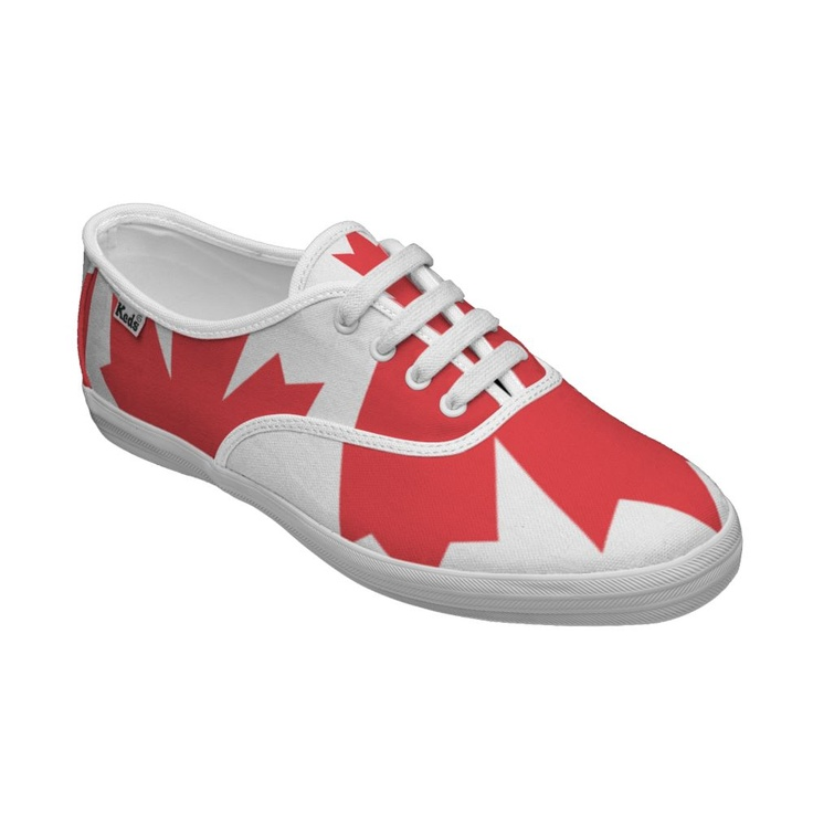 Canada Day deck shoes. #Canadian #shoes #maple_leaves