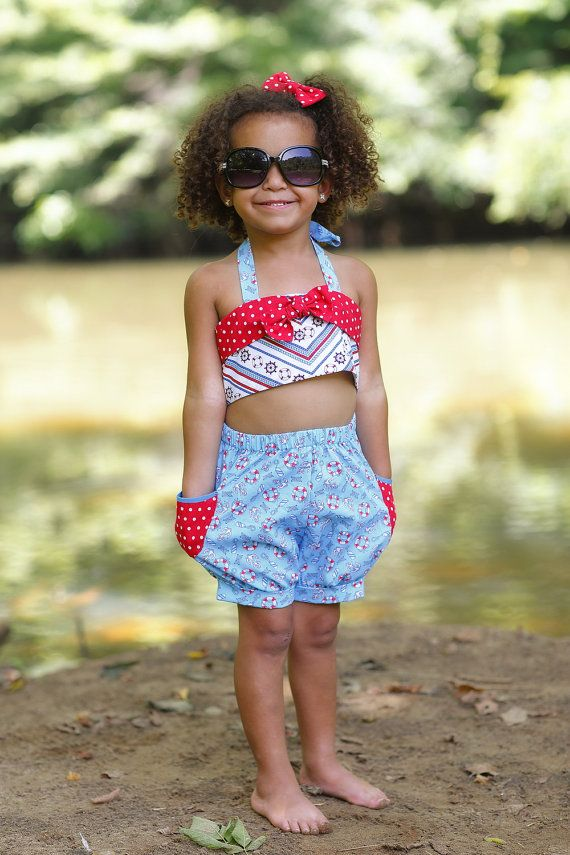 Toddler Girl Swimsuits  Retro Style Swimsuits  by PinkMouseKids