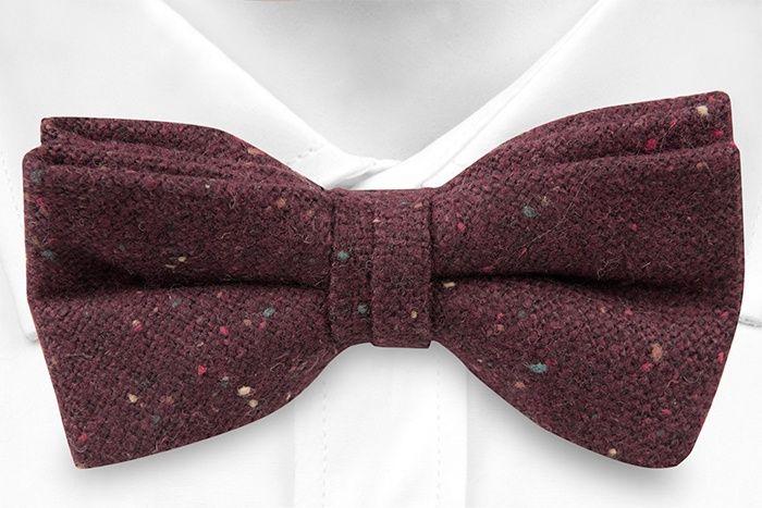Pre tied bow tie - Burgundy, yellow, orange & green specks