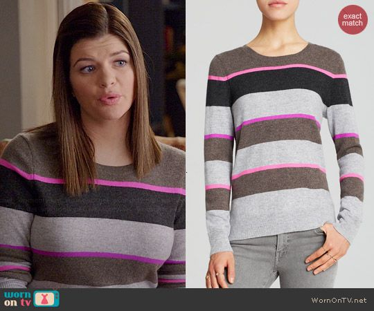 Annie's grey and pink striped sweater on Marry Me.  Outfit Details: http://wornontv.net/45759/ #MarryMe