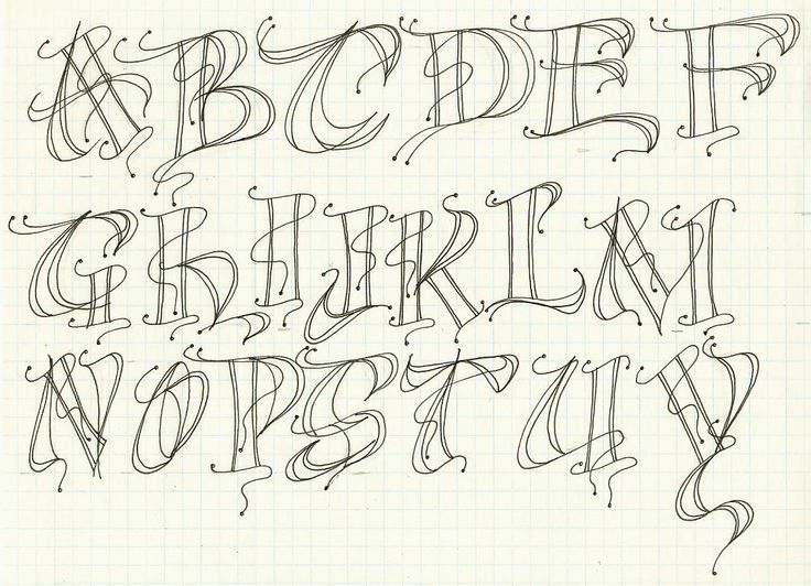 Modern decorated letter alphabet exemplar