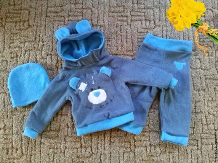 Купить Костюм флисовый С мишкой Тедди - темно-серый, однотонный, костюм флисовый